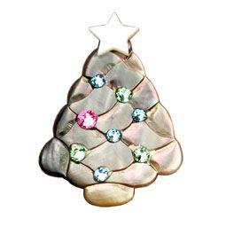 Mother of Pearl Swarovski Elements Star Christmas Tree Brooch