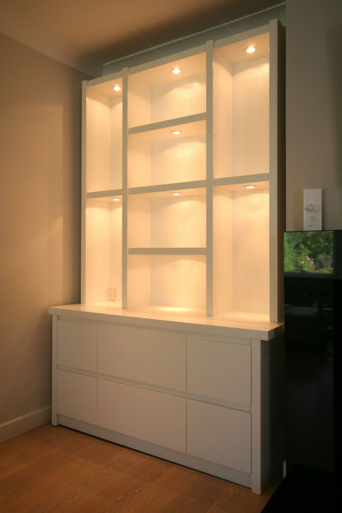 Full bookcase with lighting