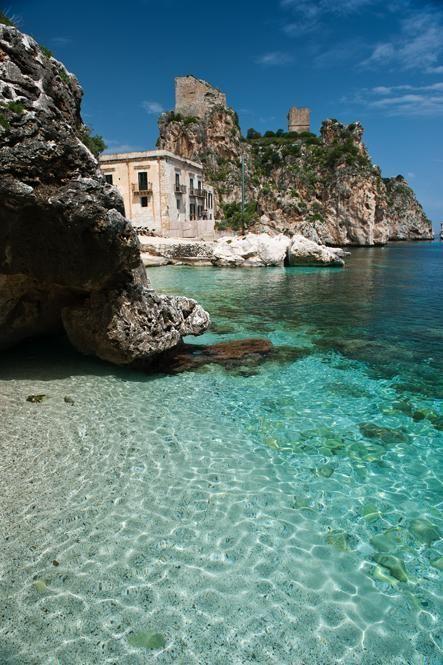Italy Travel Inspiration - Sicily. Trapani. Scopello. Next door to Castellammare del Golfo. Love how it's nestled in the rocks!!