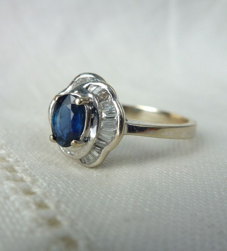 A Vintage Natural Blue Sapphire and Diamonds in 18kt White Gold Engagement Ring - Mackenzie by RomanceVintageJewels on Etsy