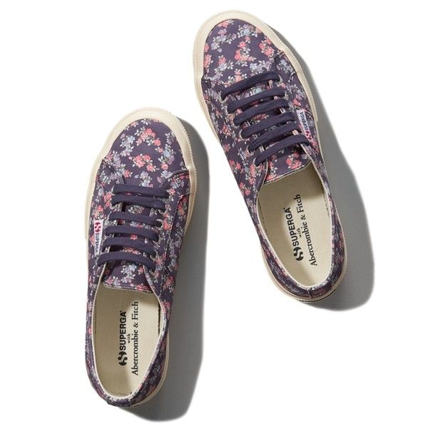 Abercrombie & Fitch Superga With A&FFloral Cotu Classic Sneaker ($60) ❤ liked on Polyvore featuring shoes, sneakers, superga, purple floral, purple leather shoes, leather trainers, floral print shoes, lacing sneakers e lace up sneakers