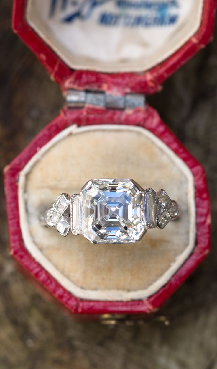 1920's Antique 3 Carat Asscher Cut Diamond Engagement Ring Platinum