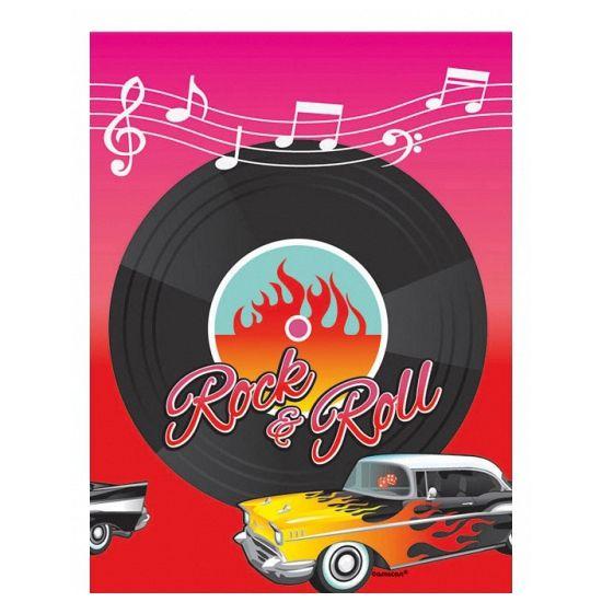Rock and Roll tafelkleed. Dit plastic Rock and Roll thema tafelkleed heeft een formaat van ongeveer 137 x 260 cm.