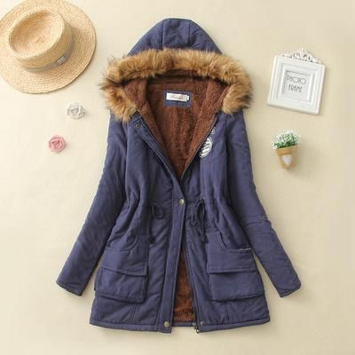 2019 Winter New Women's Hooded Fur Collar Waist And Velvet Thick Warm Long Cotton Coat Jacket Coat