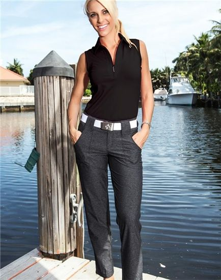 JoFit Belted Cropped Pant in Heathered Charcoal Grey paired with Black Sleeveless Polo | #Golf4Her #GolfClothes