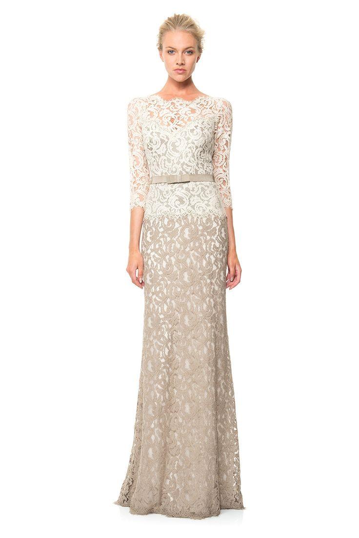 Lace Boatneck ¾ Sleeve Gown with Grosgrain Ribbon Belt | Tadashi Shoji
