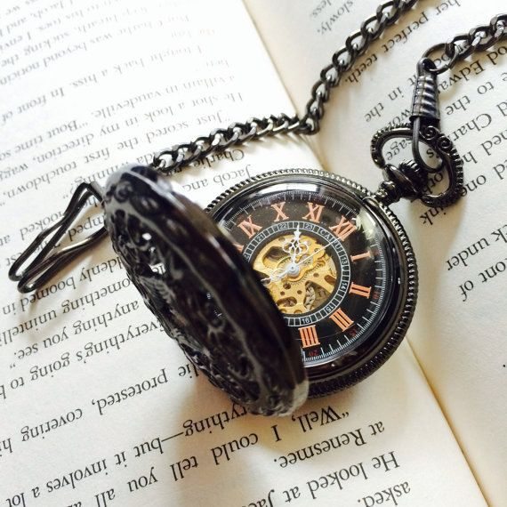 Victorian style Black & Gold Mechanical Pocket Watch with Watch Chain - Groomsmen Gift - Engravable by SteamRetro on Etsy