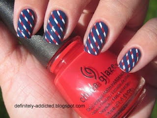 China Glaze - Hey Sailor and First Mate.  Love this design...can't wait for my striping tape to come in!
