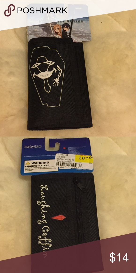 Sword art online  wallet New Sword art online  wallet. The back says laughing coffin. Velcro. Hot Topic Bags Wallets