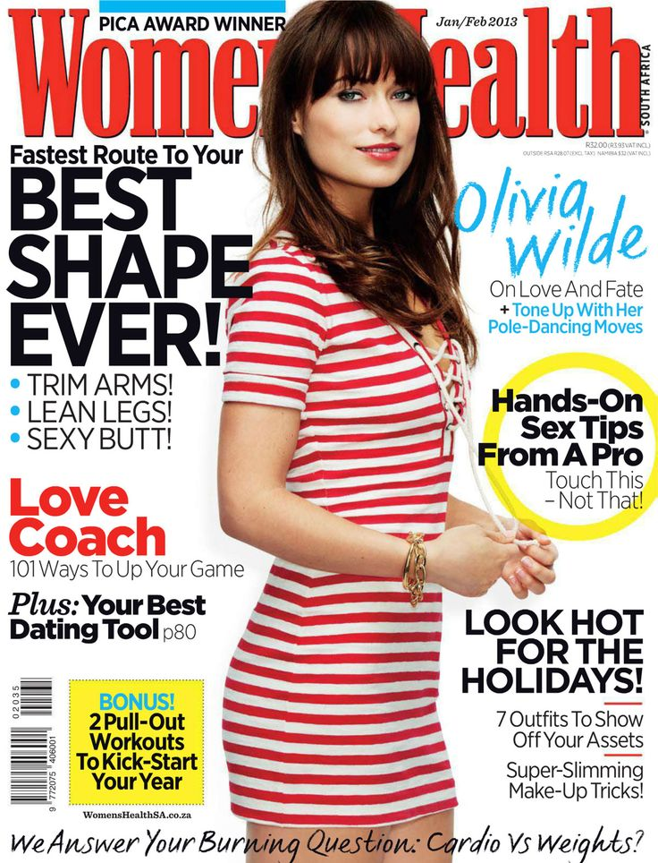 """Women's Health Magazine cover, January-February 2013 issue featuring celebrity Olivia Wilde in a candy-striped dress on """"Love, Fate.. and how to Tone-Up with Her Pole-Dancing Moves"""". To contact TME Magazine Customer Service by phone about your Women's Health (WOMENHEA) magazine subscription: 1- (877) 632-3189"""