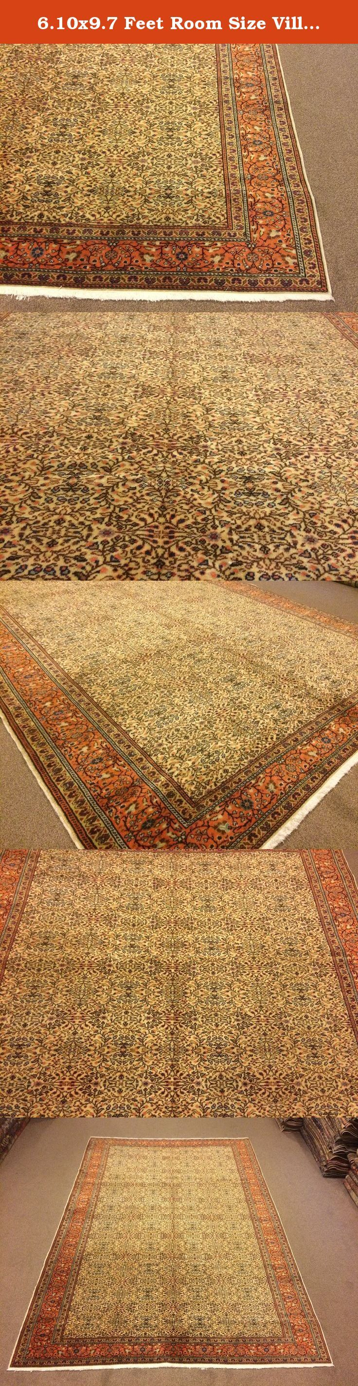 6.10x9.7 Feet Room Size Village Rug Vintage Rug Living Room Size Handmade Carpet Handmade Rug Handmade Big Rug Big Vintage Carpet Code:K569. It is %100 turkish carpet.All colours are natural dyed. Size:6.10x9.7 feet 207x290 cm Material:wool on cotton Code:K569 Fast Worldwide Shipment in 1-3 business days after the order and it may take an additional 3-5 days for delivery. All items are shipped by Fedex and Ups.Please note that light effect, monitor's brightness, contrast etc. may cause a...