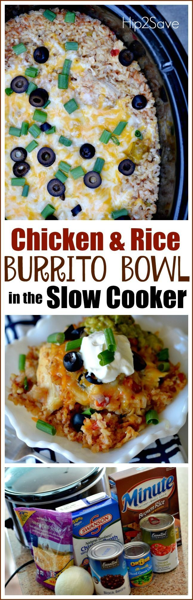 If you�re looking for an easy and crowd pleasing slow cooker meal, try making chicken and rice burrito bowls in the slow cooker!  The chicken gets cooked first in a flavorful broth, then just add in rice about 45 minutes before you�d like to eat and it co