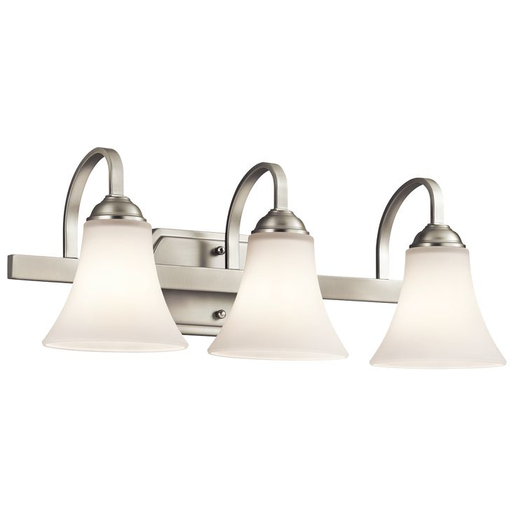 interesting bathroom light fixtures%0A Off Keiran Brushed Nickel Three Light Bath Vanity Fixture by Kichler     Bulb Socket Type  Medium   Bulb is not included