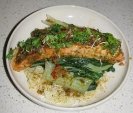Recipe Asian Salmon with Buk Choy and Coconut Rice by Samantha Needle - Recipe of category Main dishes - fish