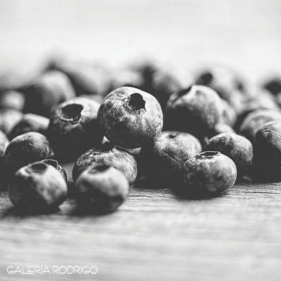 Kitchen Wall Decor • Rustic Kitchen Art • Food Photography • Black and White Food Picture Quality print of a macro view of a group of juicy blueberries with rustic wooden surface texture background, b