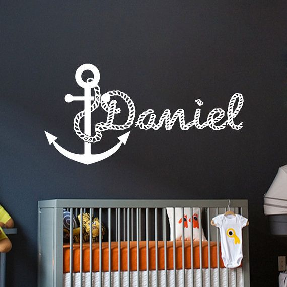 Wall Decals For Boys  Personalized Name Anchor Decal Vinyl Sticker Boy Nautical  Nursery Bedroom  Decor Home Interior Design Art Mural vk62