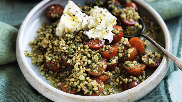 Herbs give this farro and cherry tomato salad extra sparkle.