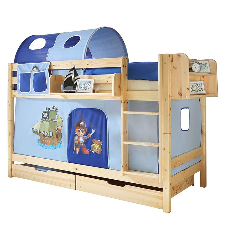 Best Etagenbett Marcel I Kiefer massiv Blau Mit Tunnel Matratzen u Rollrosten Ticaa Jetzt bestellen unter https moebel ladendirekt de kinderzimmer