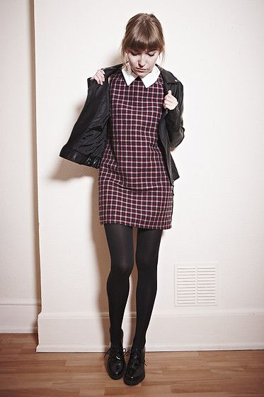 GRUNGY PLAID definitely works you can make this a winter look love the black stockings added #Works                                                                                                                                                     More