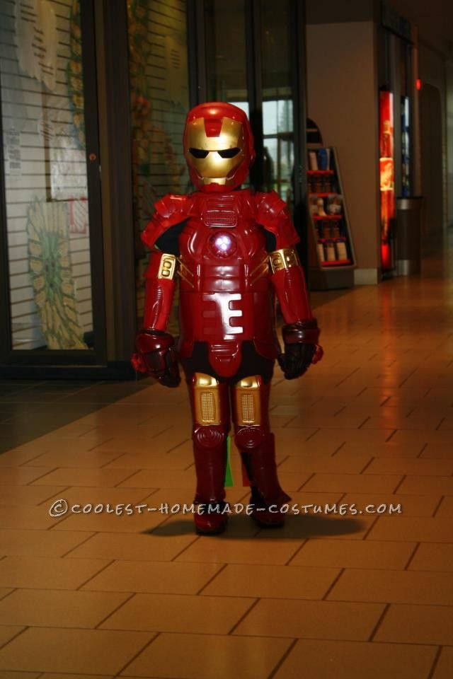 Awesome iron man costume hand made with recycled plastic for Awesome halloween costumes for kids