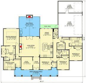 Plan 56438SM: Modern Farmhouse Plan with Vaulted Rear Porch