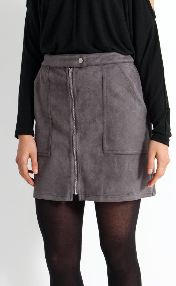 Zip Front Faux Suede Skirt | In a sweet A-Line mini, faux suede and a zip up front are combined to channel the 70s trend. Tuck in a blouse and style with tights and boots for a fun and on-trend look.