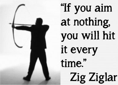 If you aim at nothing, you will hit it every time. Zig Ziglar