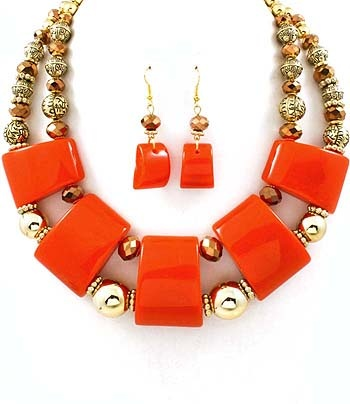 Orange Multi strand necklace and earring in antique gold
