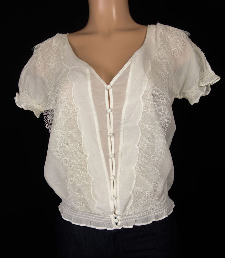 JOIE Top Size XS White Cotton Silk Delicate Sheer Lightweight Lace Work Blouse #JOIE #Blouse #Career