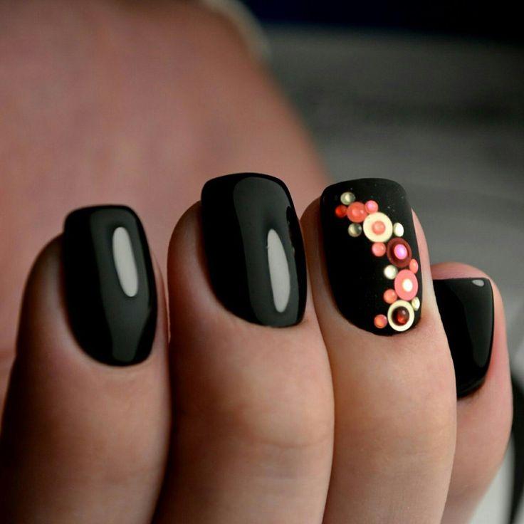 @pelikh_Камифубуки для дизайна ногтей на черном гель-лаке на ногтях.  Камифубуки на матовой поверхности (на матовом фоне).