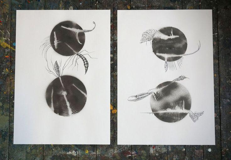 drawing, mixed media, pen