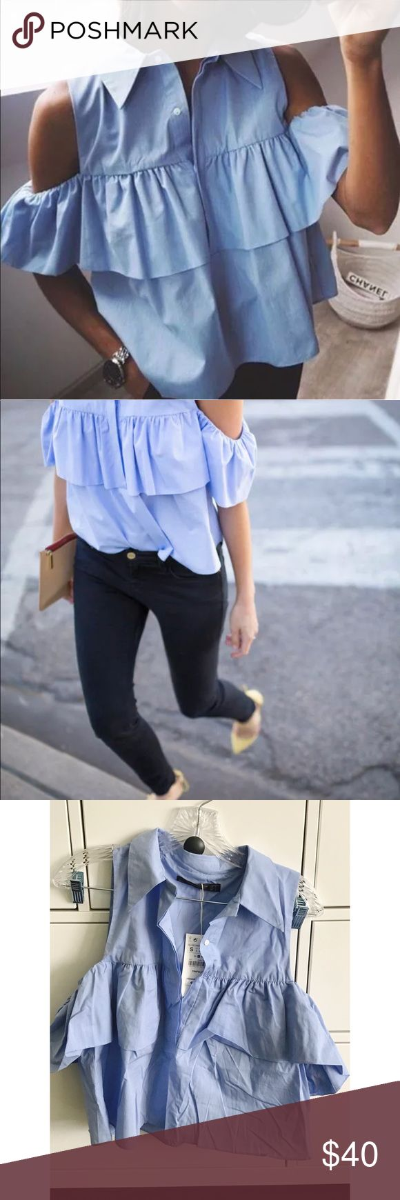 ZARA Frilled Poplin Blouse - S ZARA NEW S/S 2016 COLLECTION  FRILLED POPLIN SHIRT Flowing shirt. Lapel collar. Off-the-shoulder. Double layer. Elasticated sleeves. Zara Tops