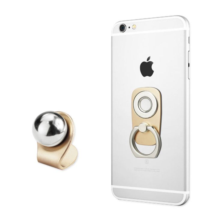 Reiko UNIVERSAL 2-IN-1 MAGNETIC CAR MOUNT HOLDER WITH 360 DEGREE ROTATION FINGER RING GRIP IN GOLD