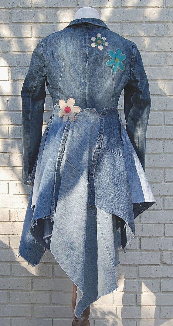 Boho Denim Jacket Coat Blue Jean Long Denim by GallimaufryClothing