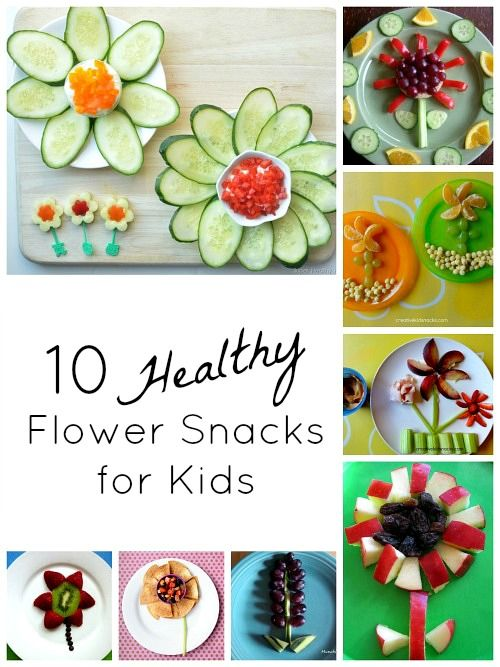 10 Flower Snacks for Kids...fun for kids to make and healthy, too!