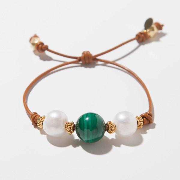 14mm AAA Malachite 14mm AAA Freshwater Pearls Vermeil Bali Beads Adjustable 2.0mm Tan Leather