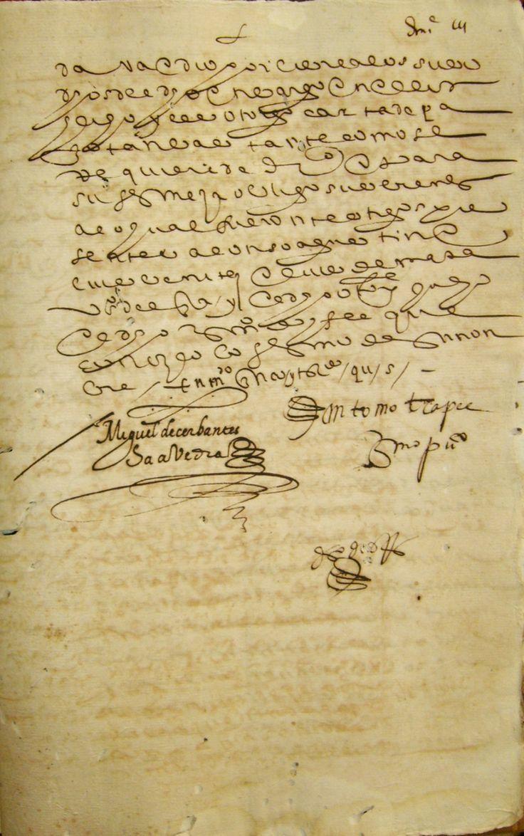 Posible escritura de Miguel de Cervantes.
