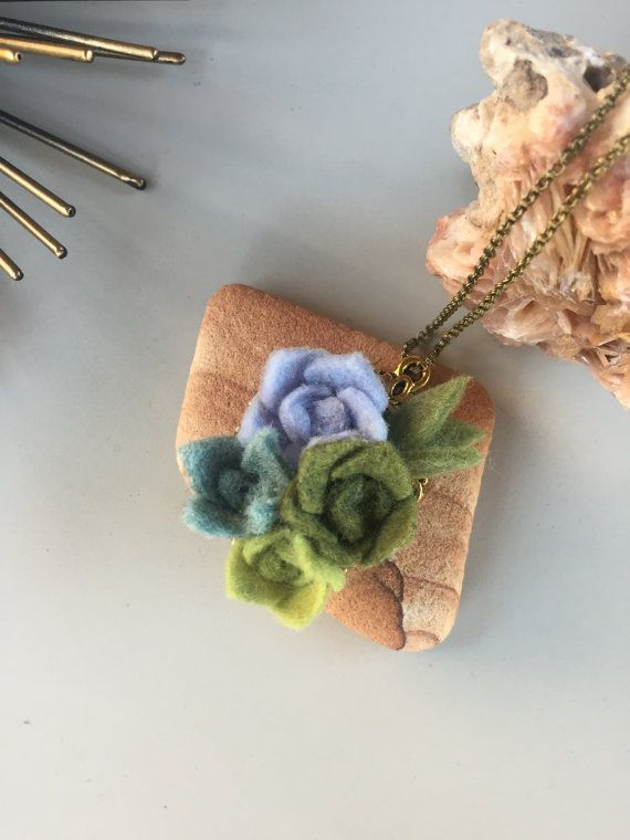 wool felt succulent brass pendant necklace by goldenafternoonmade