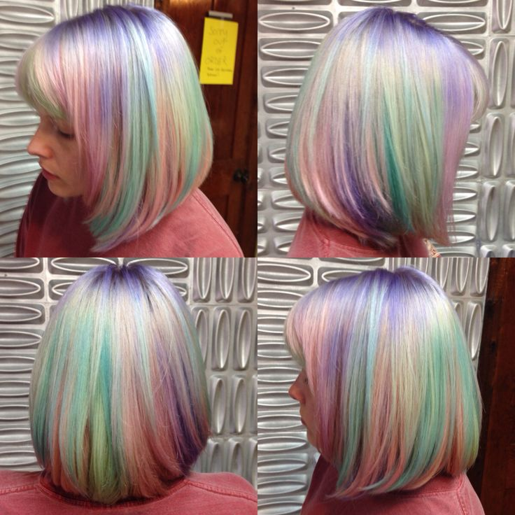 unicorn short hair medium bob multi