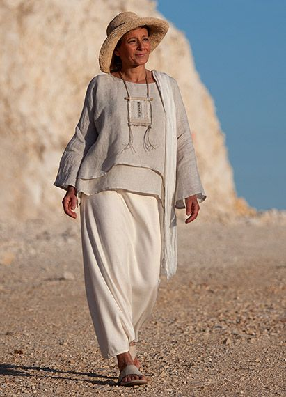 Amal Thee.  Loose fit layered linen gauze tunic, but the skirt is very interesting because it could also be called pants.