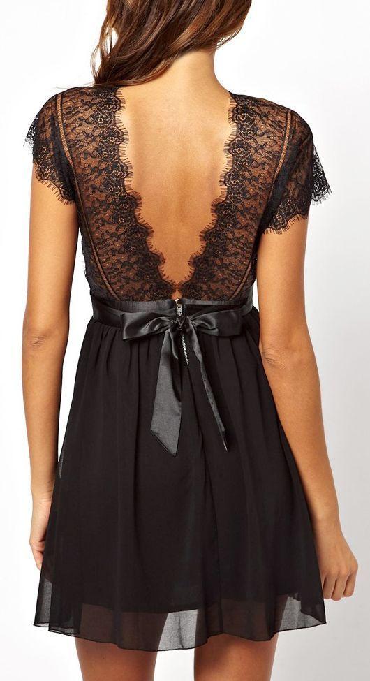 Gorgeous v-back lace mini dress