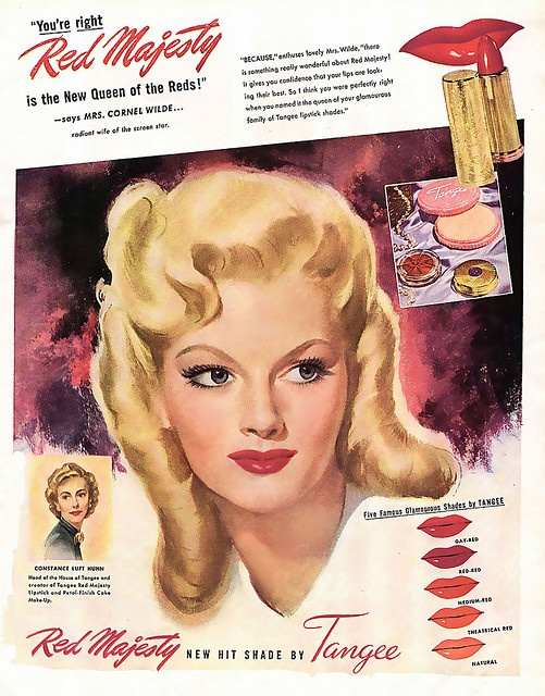 "Mrs. Cornel Wilde for ""Red Majesty"" Tangee lipstick"