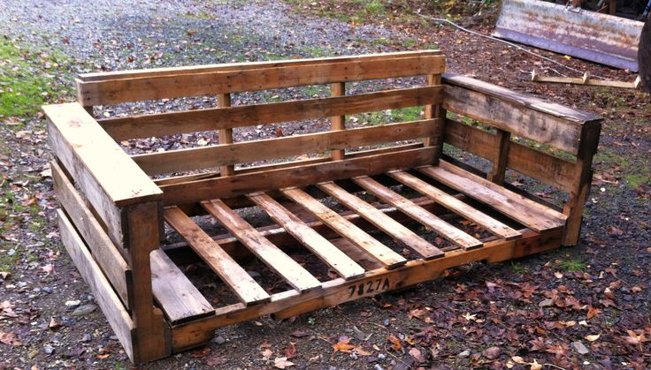Pallet couch, I like that it has arms, add a thin twin mattress and pillows