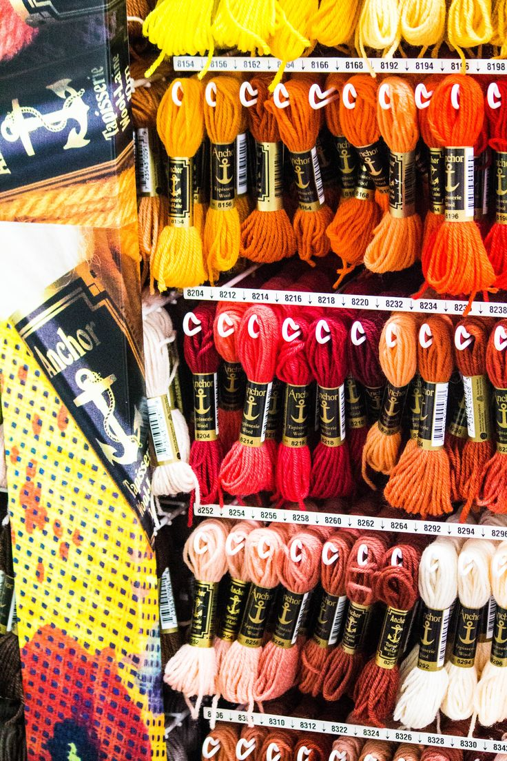 A variety of threads available for stitching.