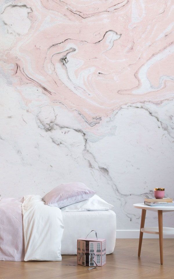 Rose Gold Marble Wallpaper Bedroom