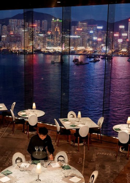 """""""Felix"""", one of Hong Kong's most stylish resto-bars, is perched on the top floor of the Peninsula, boasting fantastic views of Victoria Harbour and the city skyline..."""
