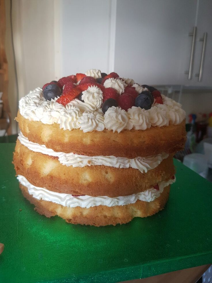 Fresh cream and fresh fruit  wonky cake xxx