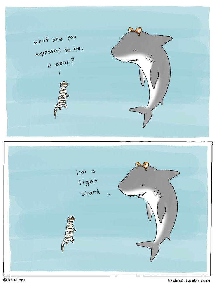 shark's Halloween costume | Liz Climo comic via tumblr