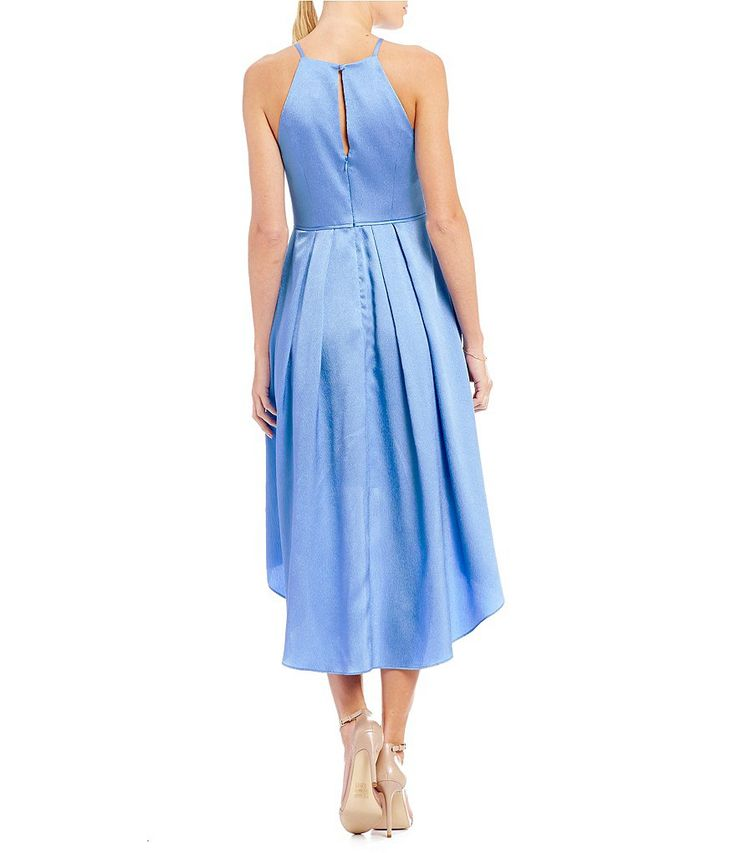 Aidan Aidan Mattox Satin Pleated Hi-Low Dress