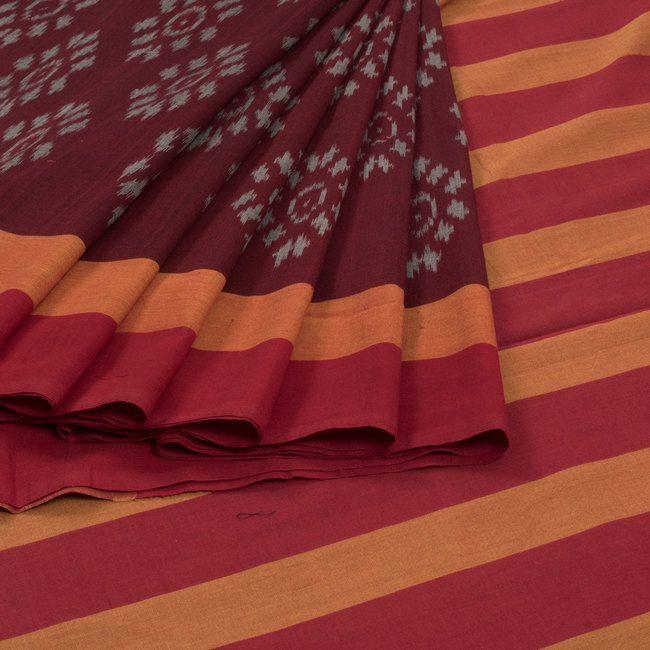 Sarveshi Maroon Handwoven Double Ikat Cotton Saree 10007735 - profile - AVISHYA.COM